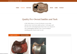 Screengrab of the Thrifty Equine website.